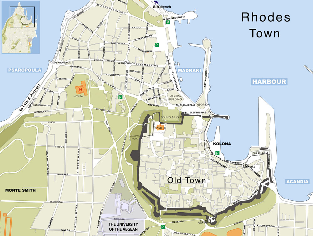 Rent a car in Rhodes Rhodes Map from Alianthos